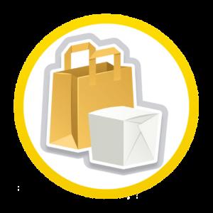 icona con borse a contenitori per il cibo da asporto