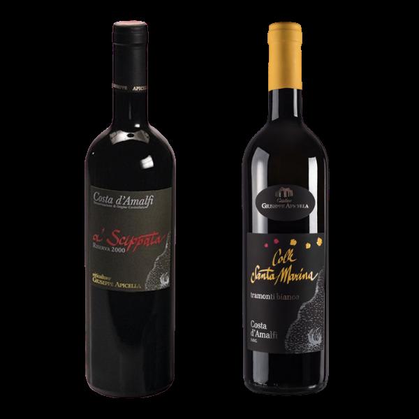 il vino rosso di tramonti a' scippata e il vino bianco di tramonti colle santa maria